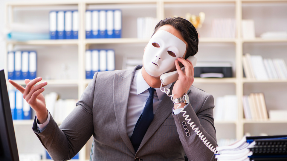 man on phone with mask